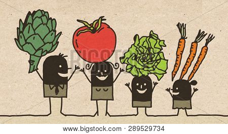 Black Cartoon Family - Eating Vegetables
