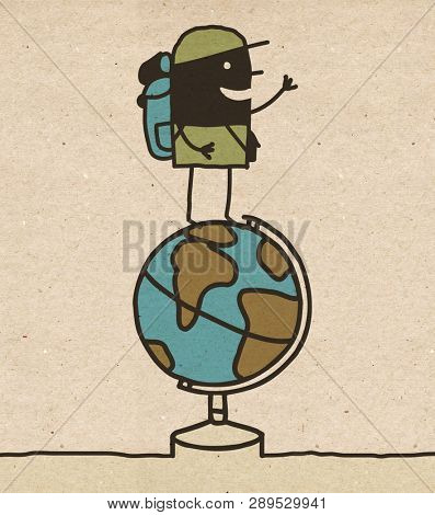 Black Cartoon Globe Trotter