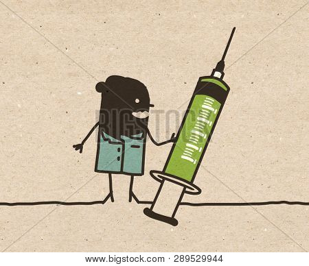 Black cartoon Nurse with big Syringe