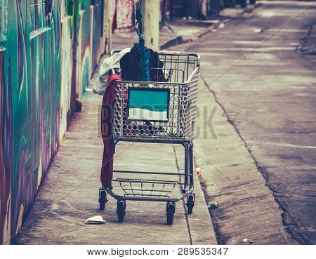A Shooping Cart Used By A Homeless Person In San Francisco, Usa