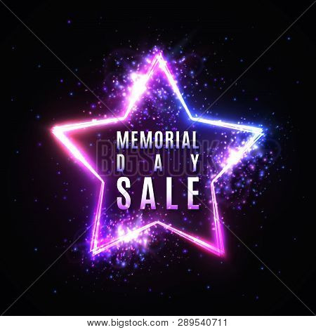 Memorial Day Sale Text In Glowing Star Shape Neon Sign With Particles Stars Light Flash. Discount Ca