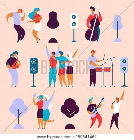Modern Cartoon Flat Characters Set For Jazz,rock Music Fest Concept-singer,musicians,guitar,sax,drum