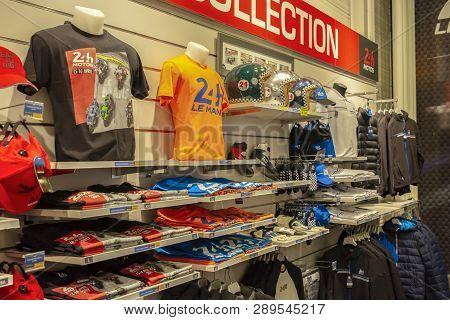 Le Mans, France - April 30, 2017: Shop Of Souvenir Near Museum Of Cars 24 Hours Le Mans