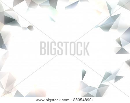 Vector Abstract White Background With Triangles. Textured Wallpaper With In Low Poly Style With Grad
