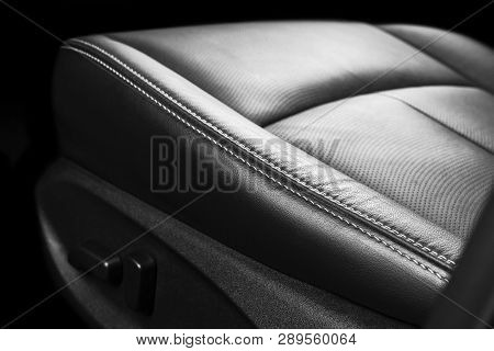 Modern Luxury Car Inside. Interior Of Prestige Modern Car. Comfortable Leather Seats. Perforated Lea