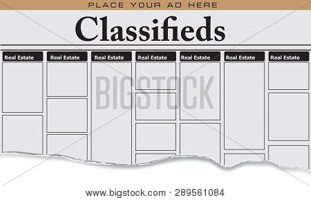 The First Page Of Newspaper Classifieds For Real Estate, Place Your Ad Here