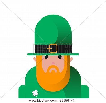 Tough Cartoon Flat Icon Leprechaun St Patricks Day Character, Avatar For Irish Holiday