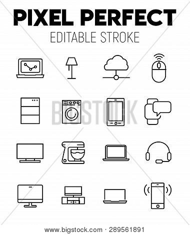 Simple Collection Nternet Of Thing Related Line Icons. Thin Line Vector Set Of Signs For Infographic