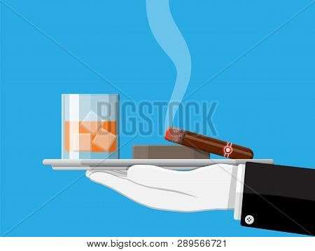 Glass Of Whiskey With Cigar And Ashtray In Hand. Premium Alcohol, Tobacco. Bourbon Alcoholic Drink,