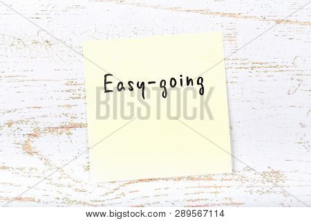 Job Interview Preparation. Yellow Sticky Note With Handwritten Message Easygoing