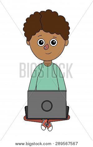 School Child Boy Online Education With Laptop Cartoon Vector Illustration Graphic Design
