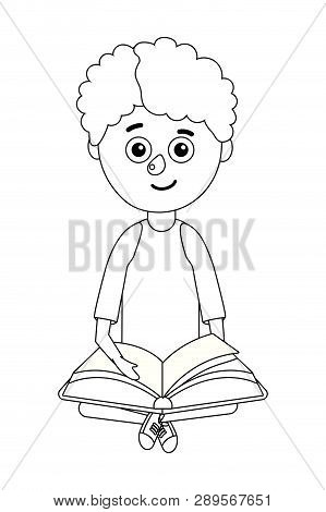 Young Boy Student Holding Book Vector Ilustration Graphic Design