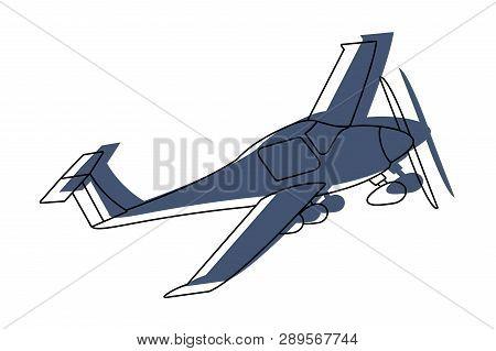 Transportation Concept Small Plane Cartoon Vector Illustration Graphic Design