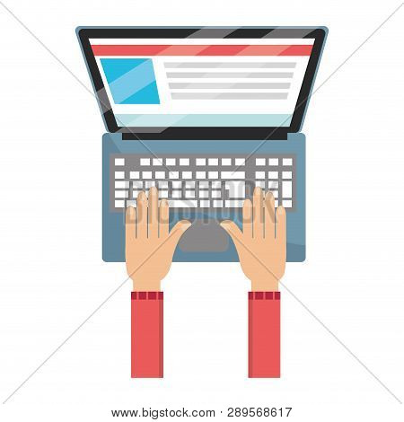 Technology Laptop Cartoon Vector Illustration Graphic Design