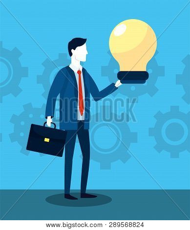 Professional Businessman With Briefcase And Bulb Strategy Vector Illustration