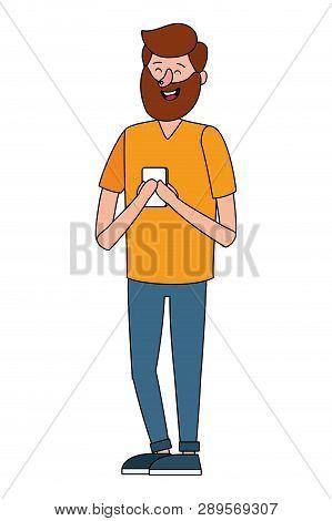 Man Using Technology Device Smartphone Vector Illustration Graphic Design