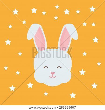 Cute Rabbit Head Character Vector Illustration Design
