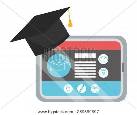 Online Education Tablet Cartoon Vector Illustration Graphic Design