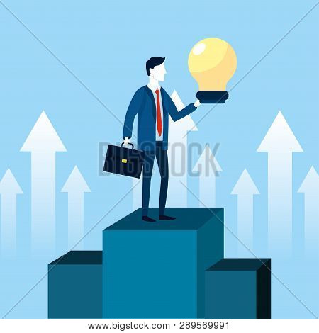 Professional Businessman In The Goal With Briefcase And Bulb Vector Illustration