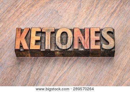 ketones word abstract in vintage letterpress wood type blocks