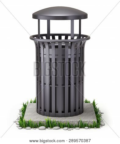 Black Park Trash Bin On White Background - 3d Illustration