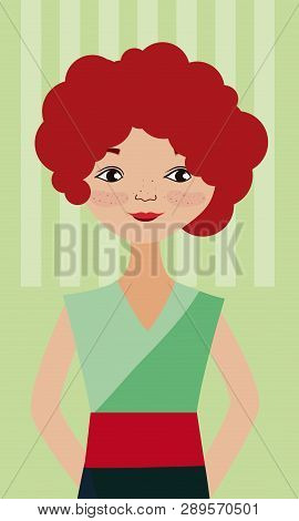 Young Woman With Red Curly Hair Over Striped Background Vector Illustration Graphic Design