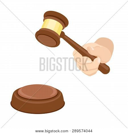 Wood Gavel Icon. Flat Illustration Of Wood Gavel Vector Icon For Web Design