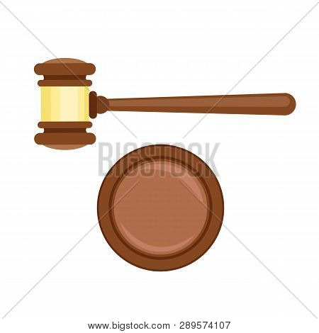 Gavel Decision Icon. Flat Illustration Of Gavel Decision Vector Icon For Web Design