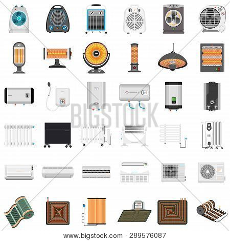 Electric Heater Icon Set. Flat Set Of Electric Heater Vector Icons For Web Design