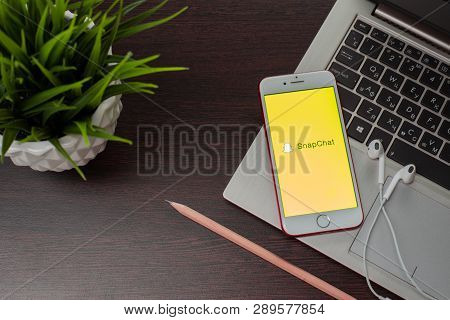 Tula, Russia, March 12, 2019: Apple Iphone 8 With Snapchat Application On The Screenis Placed On The