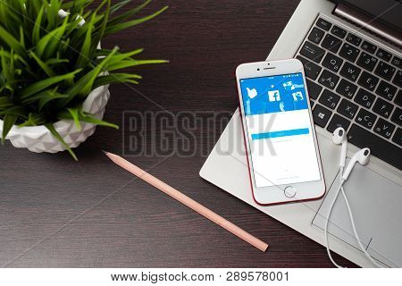 Tula, Russia, March 12, 2019: The Button To Log In Facebook On The Apple Iphone 7 Screen Is Placed O