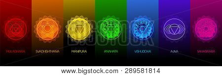 Chakra Symbols Set On Dark Background. Different Styles, Modern Simple Geometric Icons And Tradition