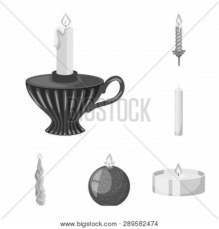 Vector Design Of Paraffin And Fire  Symbol. Set Of Paraffin And Decoration    Vector Icon For Stock.