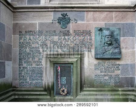 Slovakia, Kosice - May 2, 2018: Bas-relief Of Francis Ii Rakoczi On The Facade Of The Saint Elizabet