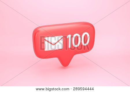 One Hundred Messages Social Media Notification With Letter Icon