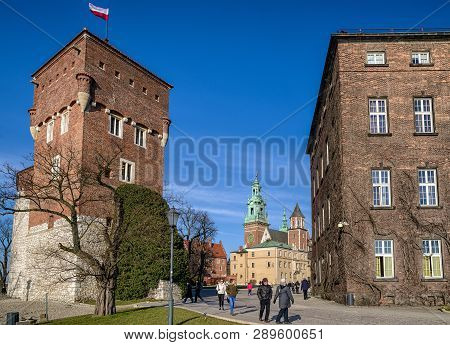 Krakow, Poland - February 19: Wawel Royal Castle On February 19, 2018 In Krakow