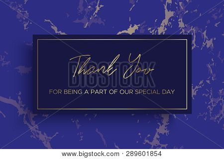 Design Of Thank You Card Template. Ultramarine Blue Marble Texture Background And Gold Text. Dimensi