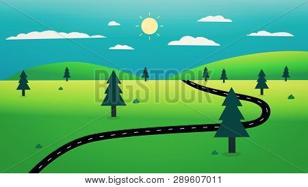 Country Road With Nature Landscape And Sky Background Illustration.beautiful Nature Scene Design.spr