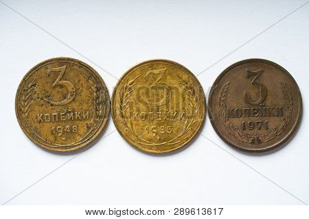 3 Kopek Of Different Years Of The 20th Century.
