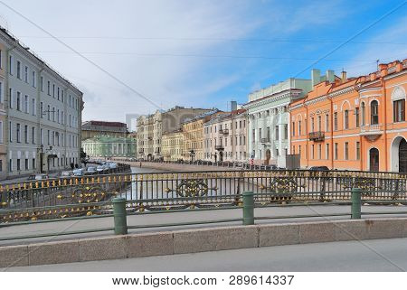 Saint-petersburg, Russia. Embankments Of The River Moika In A Sunny Spring Morning
