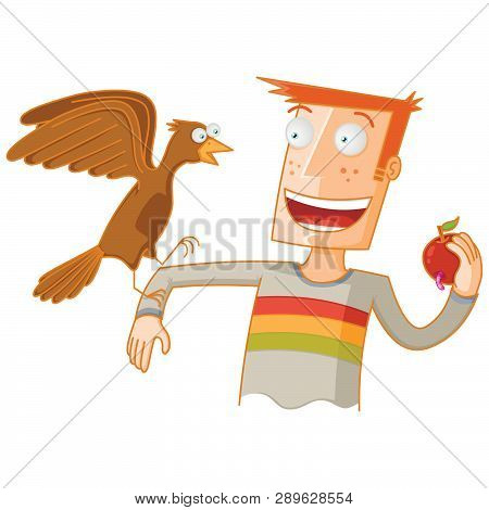 Man Feeding A Bird With An Apple