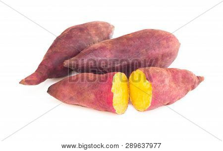 Sweet Potato Boil Isolated On White Background, Food Healthy Diet Concept