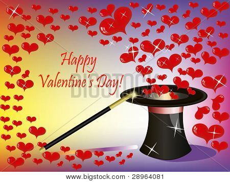 St.valentine Background With A Lot Of Heart Flying From The Magic Hat