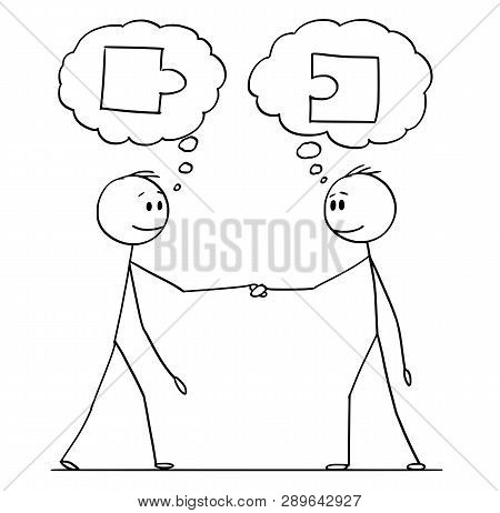 Cartoon Stick Figure Drawing Conceptual Illustration Of Two Men Or Businessmen Or Politicians Handsh