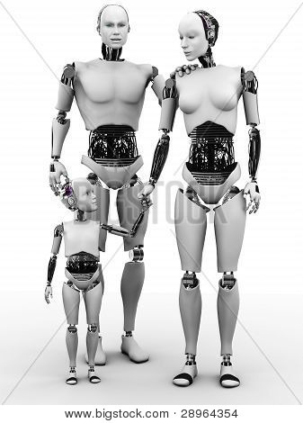 Robot Man, Woman And Child.