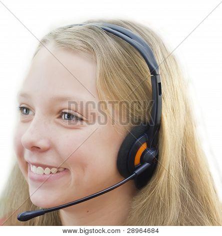 Closeup of smiling girl in headphones