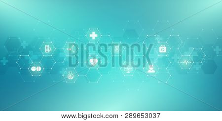 Abstract Medical Background With Flat Icons And Symbols. Concepts And Ideas For Healthcare Technolog
