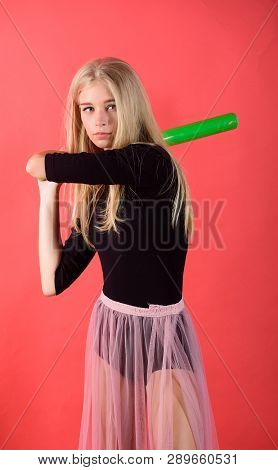 Woman Enjoy Play Baseball Game. Girl Tender Blonde Hold Baseball Bat On Red Background. Woman In Bas