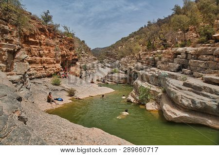 Paradise Valley, Morocco - August, 2017. Oasis Paradise Valley In Mountains Agadir, Morocco.