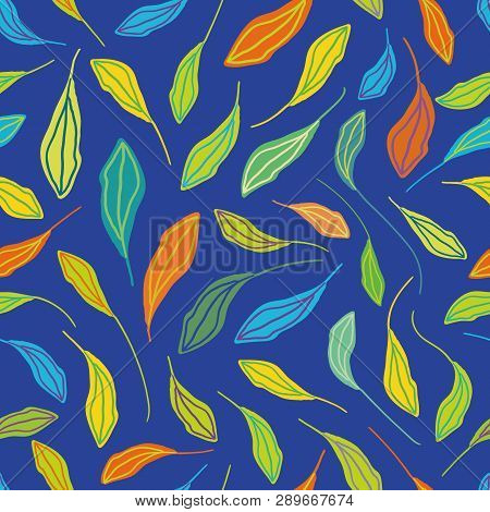 Individually Hand Drawn Leaves In Multicolor Pattern. Seamless Vector Repeat On Blue Background. Fre
